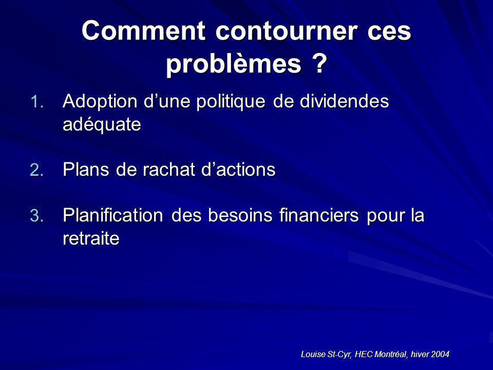 Louise St-Cyr, HEC Montréal, hiver 2004 Comment contourner ces problèmes .