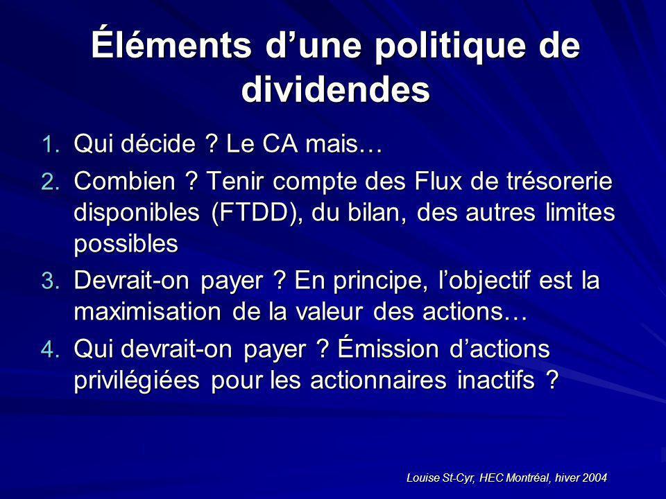 Louise St-Cyr, HEC Montréal, hiver 2004 Éléments dune politique de dividendes 1.
