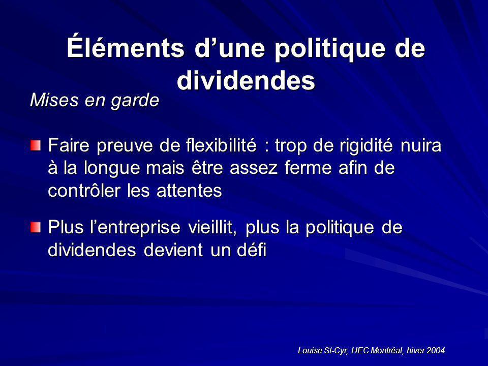 Louise St-Cyr, HEC Montréal, hiver 2004 Éléments dune politique de dividendes Mises en garde Faire preuve de flexibilité : trop de rigidité nuira à la longue mais être assez ferme afin de contrôler les attentes Plus lentreprise vieillit, plus la politique de dividendes devient un défi