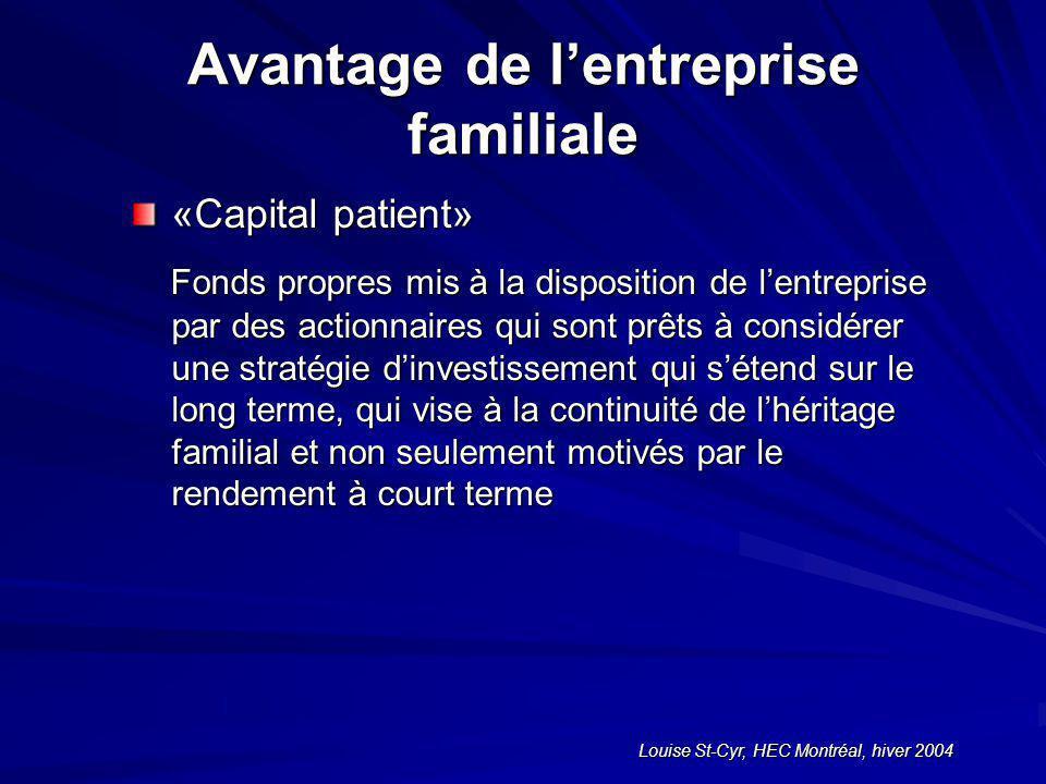 Louise St-Cyr, HEC Montréal, hiver 2004 Avantage de lentreprise familiale «Capital patient» Fonds propres mis à la disposition de lentreprise par des actionnaires qui sont prêts à considérer une stratégie dinvestissement qui sétend sur le long terme, qui vise à la continuité de lhéritage familial et non seulement motivés par le rendement à court terme Fonds propres mis à la disposition de lentreprise par des actionnaires qui sont prêts à considérer une stratégie dinvestissement qui sétend sur le long terme, qui vise à la continuité de lhéritage familial et non seulement motivés par le rendement à court terme
