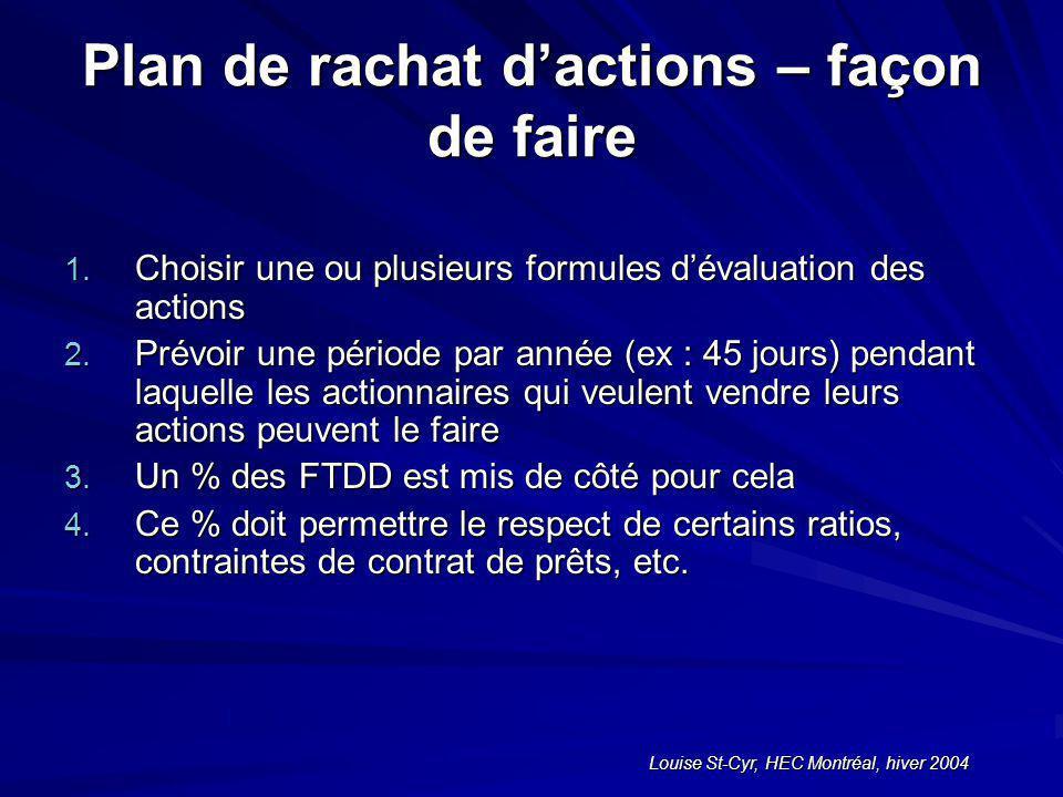 Louise St-Cyr, HEC Montréal, hiver 2004 Plan de rachat dactions – façon de faire 1.