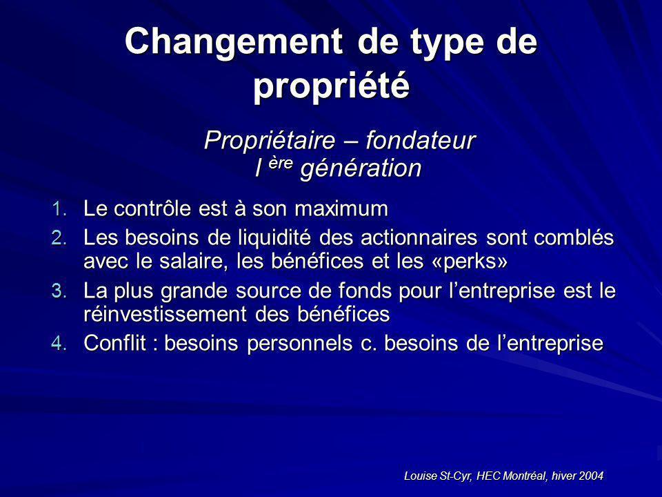 Louise St-Cyr, HEC Montréal, hiver 2004 Changement de type de propriété Propriétaire – fondateur l ère génération 1.