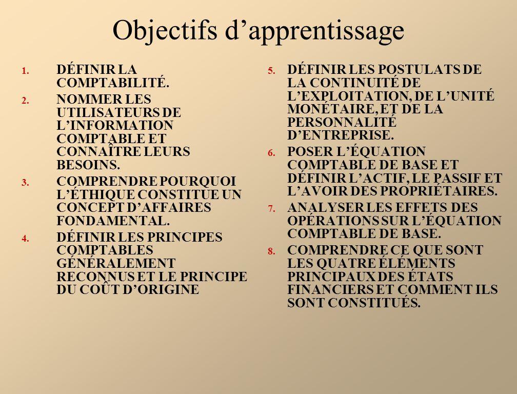 Objectifs dapprentissage 1. DÉFINIR LA COMPTABILITÉ. 2. NOMMER LES UTILISATEURS DE LINFORMATION COMPTABLE ET CONNAÎTRE LEURS BESOINS. 3. COMPRENDRE PO