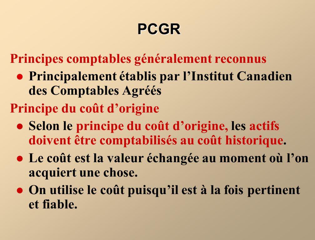 Principes comptables généralement reconnus Principalement établis par lInstitut Canadien des Comptables Agréés Principe du coût dorigine Selon le prin