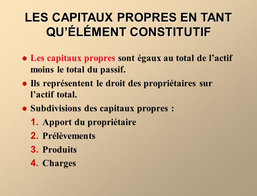 Les capitaux propres sont égaux au total de lactif moins le total du passif. Ils représentent le droit des propriétaires sur lactif total. Subdivision