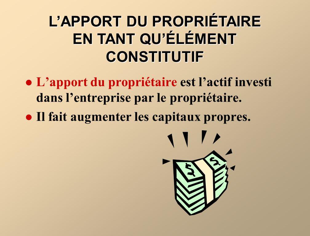 LAPPORT DU PROPRIÉTAIRE EN TANT QUÉLÉMENT CONSTITUTIF Lapport du propriétaire est lactif investi dans lentreprise par le propriétaire. Il fait augment