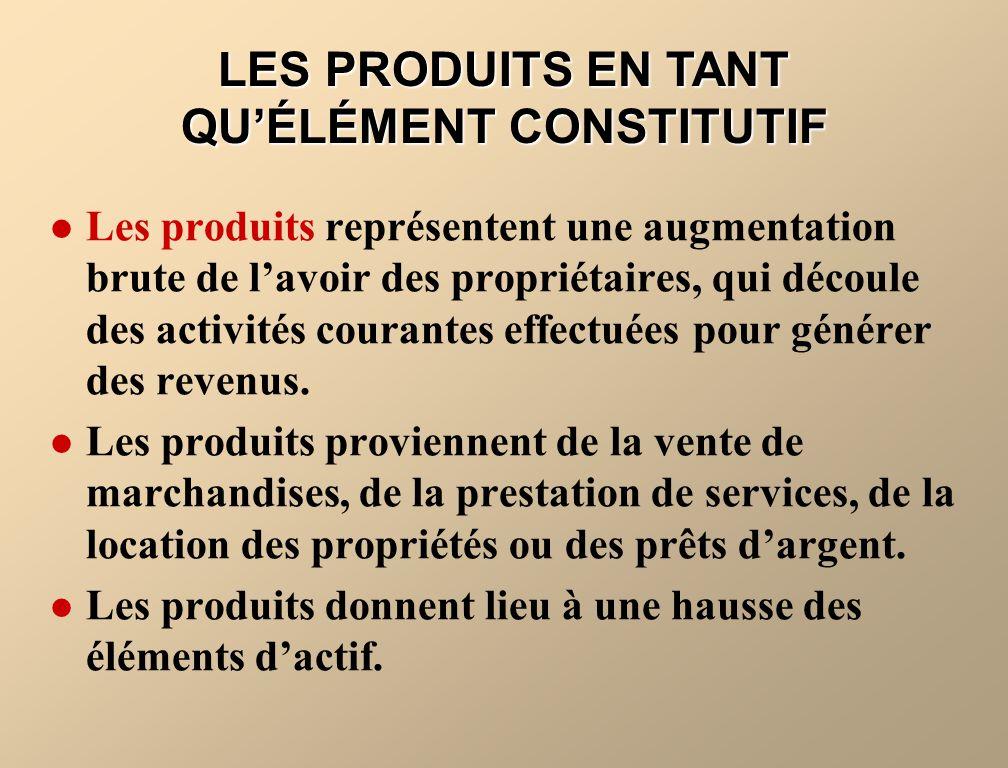 LES PRODUITS EN TANT QUÉLÉMENT CONSTITUTIF Les produits représentent une augmentation brute de lavoir des propriétaires, qui découle des activités cou