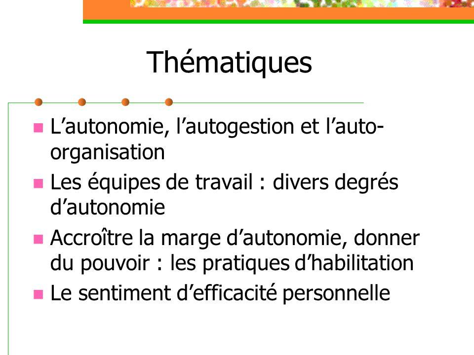 Thématiques Lautonomie, lautogestion et lauto- organisation Les équipes de travail : divers degrés dautonomie Accroître la marge dautonomie, donner du
