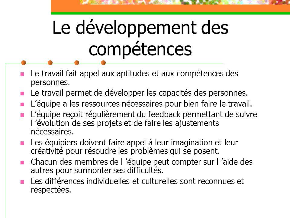 Le développement des compétences Le travail fait appel aux aptitudes et aux compétences des personnes. Le travail permet de développer les capacités d