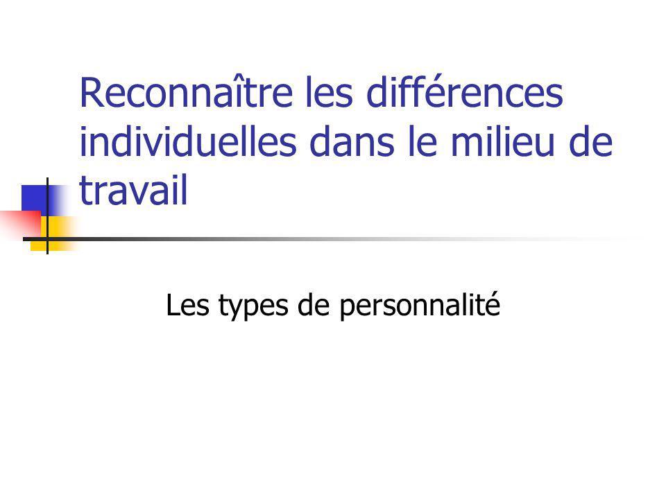Reconnaître les différences individuelles dans le milieu de travail Les types de personnalité