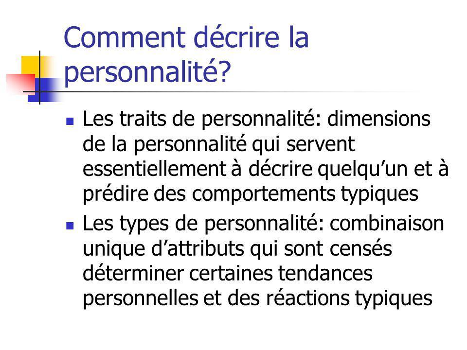 Dimensions de la personnalité selon Cattell (16PF) Extraversion/Introversion Anxiété/ Tranquillité Froideur/Sensibilité Indépendance/Passivité Contrôle/Impulsivité