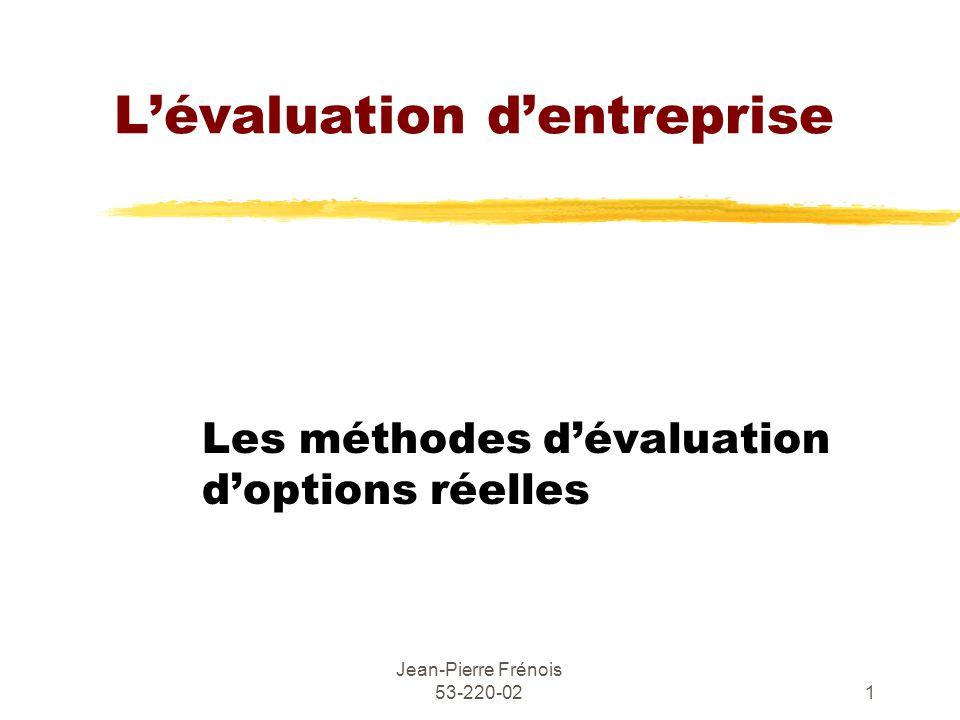 Jean-Pierre Frénois 53-220-021 Lévaluation dentreprise Les méthodes dévaluation doptions réelles