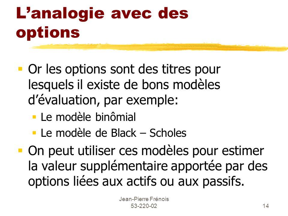 Jean-Pierre Frénois 53-220-0214 Lanalogie avec des options Or les options sont des titres pour lesquels il existe de bons modèles dévaluation, par exemple: Le modèle binômial Le modèle de Black – Scholes On peut utiliser ces modèles pour estimer la valeur supplémentaire apportée par des options liées aux actifs ou aux passifs.