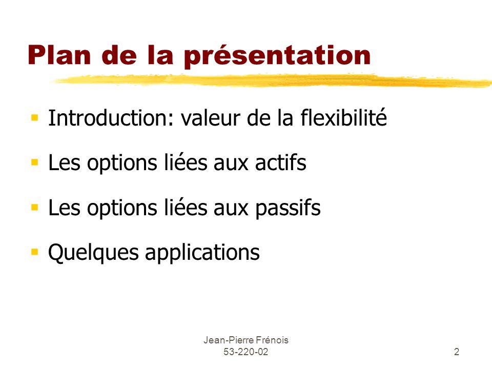 Jean-Pierre Frénois 53-220-022 Plan de la présentation Introduction: valeur de la flexibilité Les options liées aux actifs Les options liées aux passifs Quelques applications