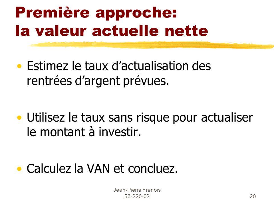 Jean-Pierre Frénois 53-220-0220 Première approche: la valeur actuelle nette Estimez le taux dactualisation des rentrées dargent prévues.