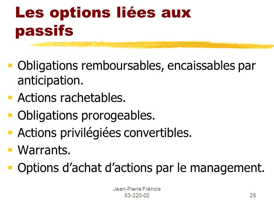 Jean-Pierre Frénois 53-220-0225 Les options liées aux passifs Obligations remboursables, encaissables par anticipation.