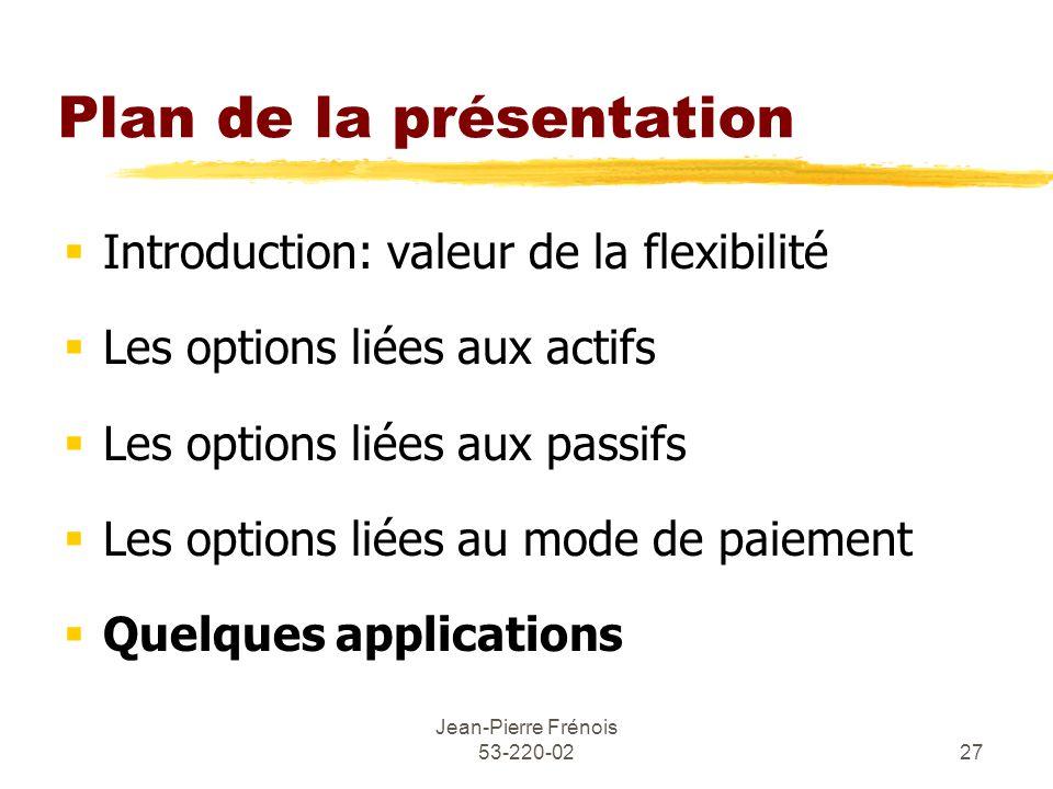 Jean-Pierre Frénois 53-220-0227 Plan de la présentation Introduction: valeur de la flexibilité Les options liées aux actifs Les options liées aux passifs Les options liées au mode de paiement Quelques applications