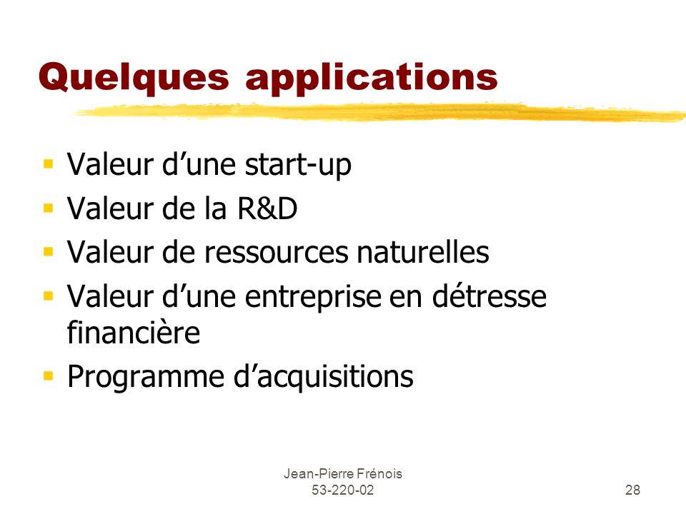 Jean-Pierre Frénois 53-220-0228 Quelques applications Valeur dune start-up Valeur de la R&D Valeur de ressources naturelles Valeur dune entreprise en détresse financière Programme dacquisitions