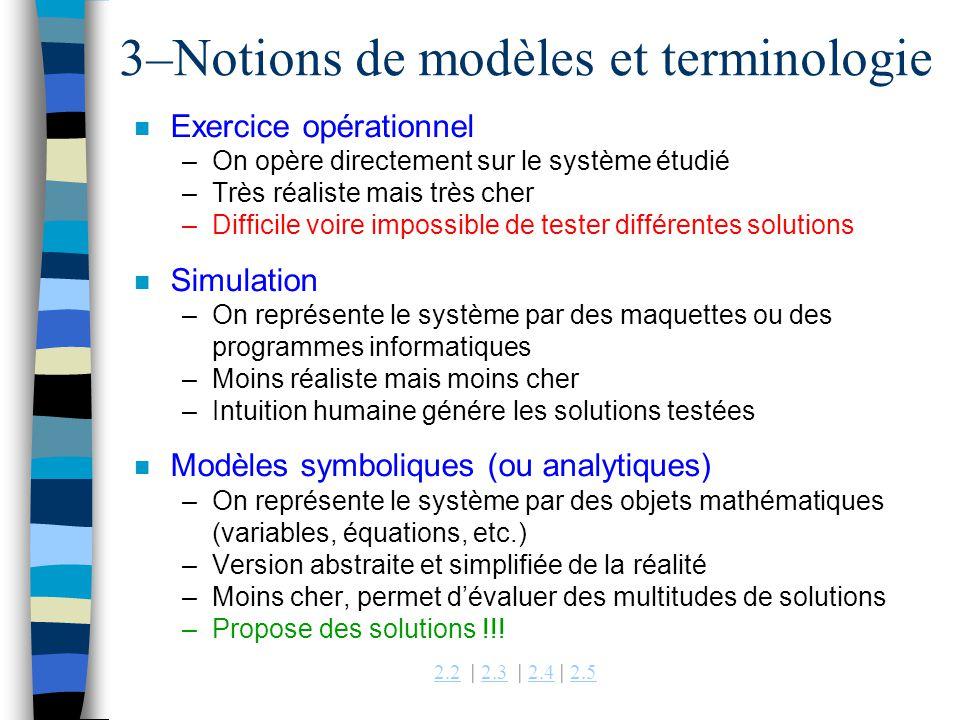2.22.2 | 2.3 | 2.4 | 2.52.32.42.5 3–Notions de modèles et terminologie n Exercice opérationnel –On opère directement sur le système étudié –Très réali