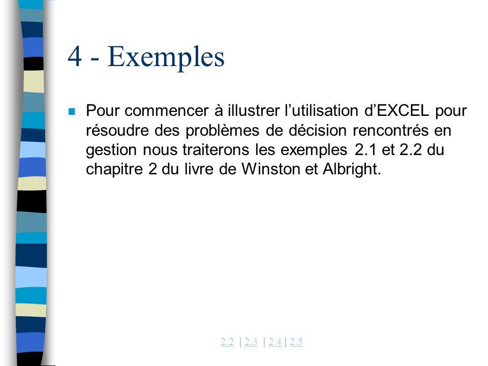 2.22.2 | 2.3 | 2.4 | 2.52.32.42.5 4 - Exemples n Pour commencer à illustrer lutilisation dEXCEL pour résoudre des problèmes de décision rencontrés en