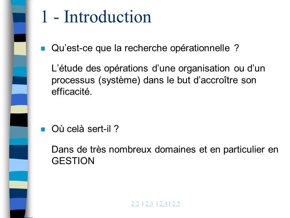 2.22.2 | 2.3 | 2.4 | 2.52.32.42.5 1 - Introduction n Quest-ce que la recherche opérationnelle ? Létude des opérations dune organisation ou dun process