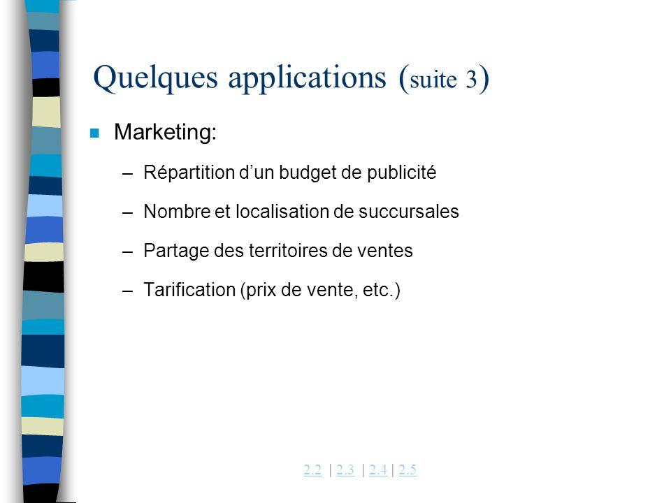 2.22.2 | 2.3 | 2.4 | 2.52.32.42.5 Quelques applications ( suite 3 ) n Marketing: –Répartition dun budget de publicité –Nombre et localisation de succu