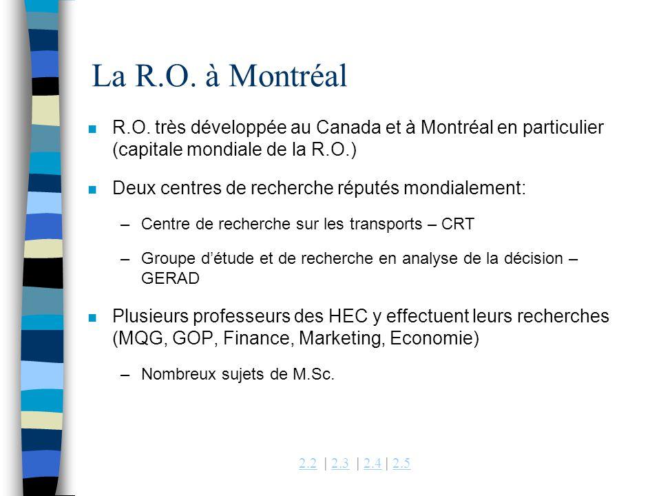 2.22.2 | 2.3 | 2.4 | 2.52.32.42.5 n R.O. très développée au Canada et à Montréal en particulier (capitale mondiale de la R.O.) n Deux centres de reche