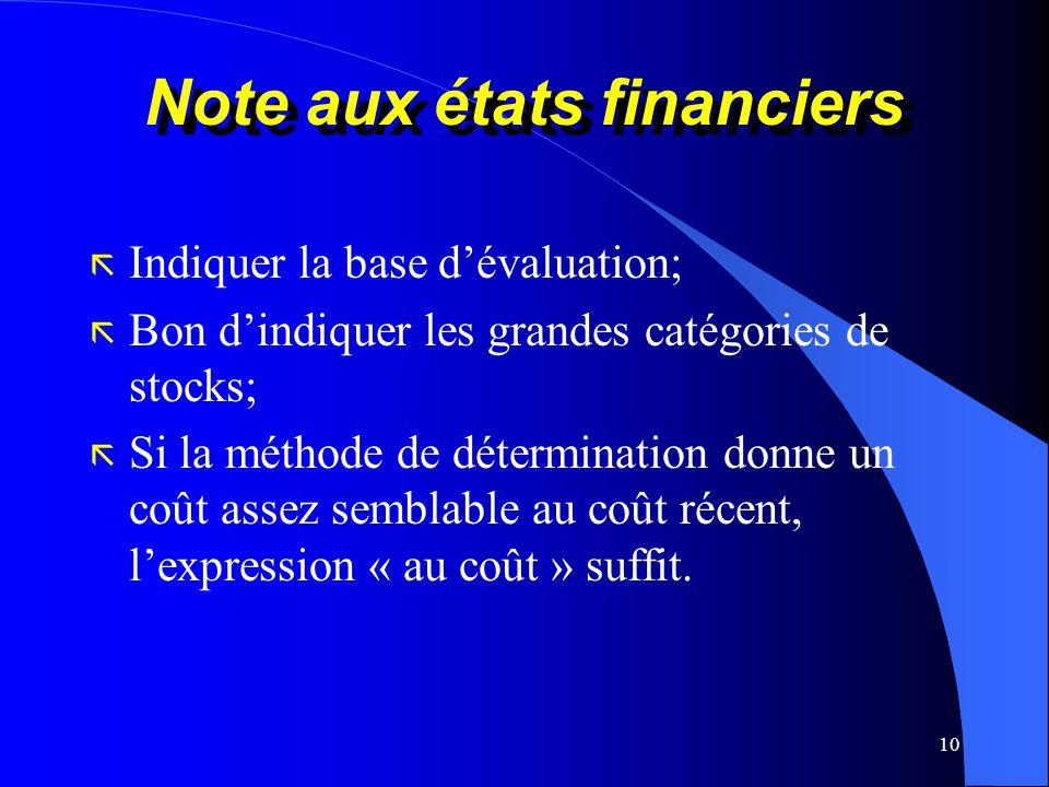 10 Note aux états financiers ã Indiquer la base dévaluation; ã Bon dindiquer les grandes catégories de stocks; ã Si la méthode de détermination donne