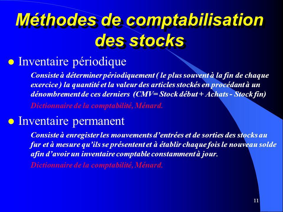 11 Méthodes de comptabilisation des stocks l Inventaire périodique Consiste à déterminer périodiquement ( le plus souvent à la fin de chaque exercice