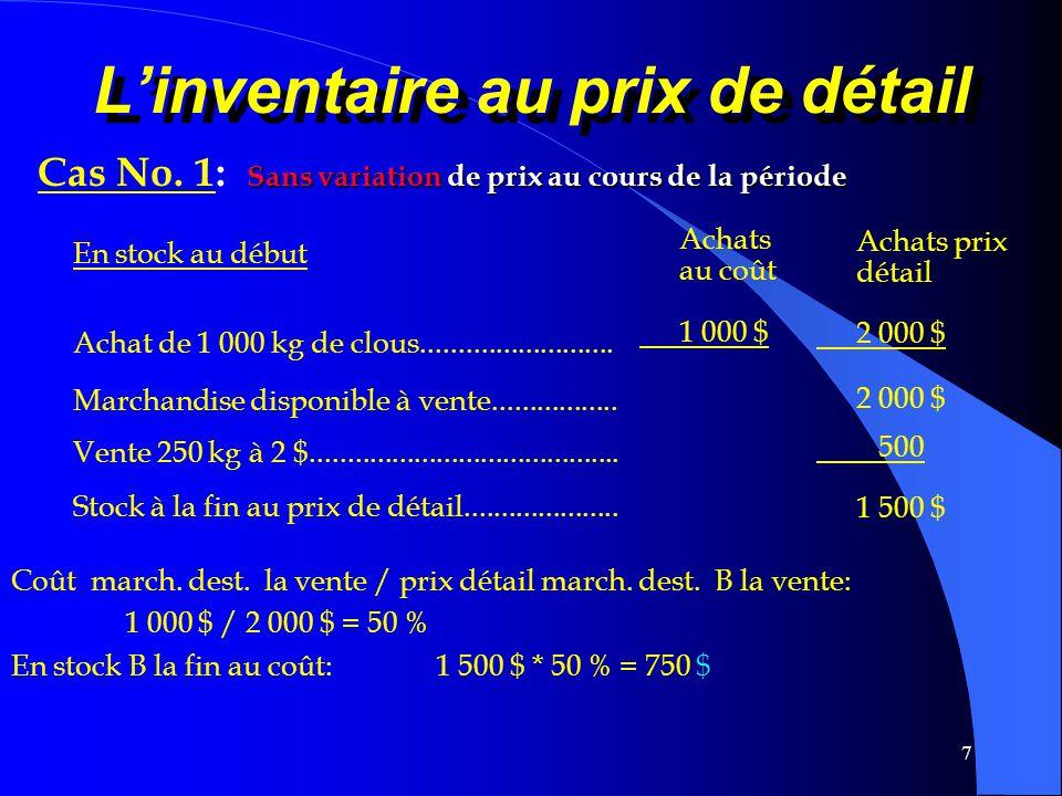 7 Linventaire au prix de détail Sans variation de prix au cours de la période Cas No. 1: Sans variation de prix au cours de la période Achats au coût