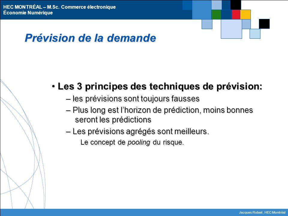 HEC MONTRÉAL – M.Sc. Commerce électronique Économie Numérique Jacques Robert, HEC Montréal Prévision de la demande Les 3 principes des techniques de p