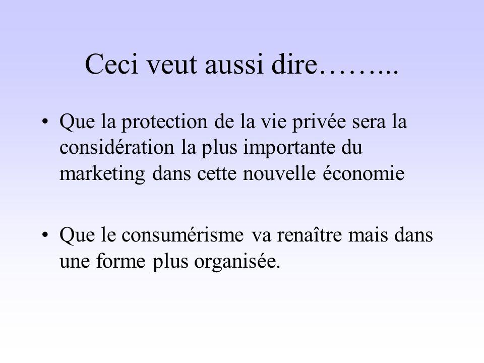 Ceci veut aussi dire……... Que la protection de la vie privée sera la considération la plus importante du marketing dans cette nouvelle économie Que le