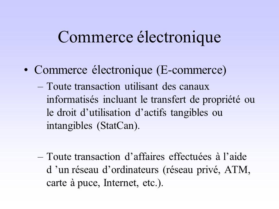 Commerce électronique Commerce électronique (E-commerce) –Toute transaction utilisant des canaux informatisés incluant le transfert de propriété ou le