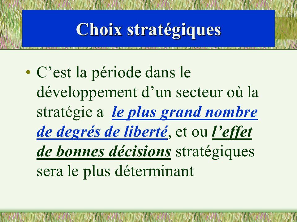 Choix stratégiques Cest la période dans le développement dun secteur où la stratégie a le plus grand nombre de degrés de liberté, et ou leffet de bonn