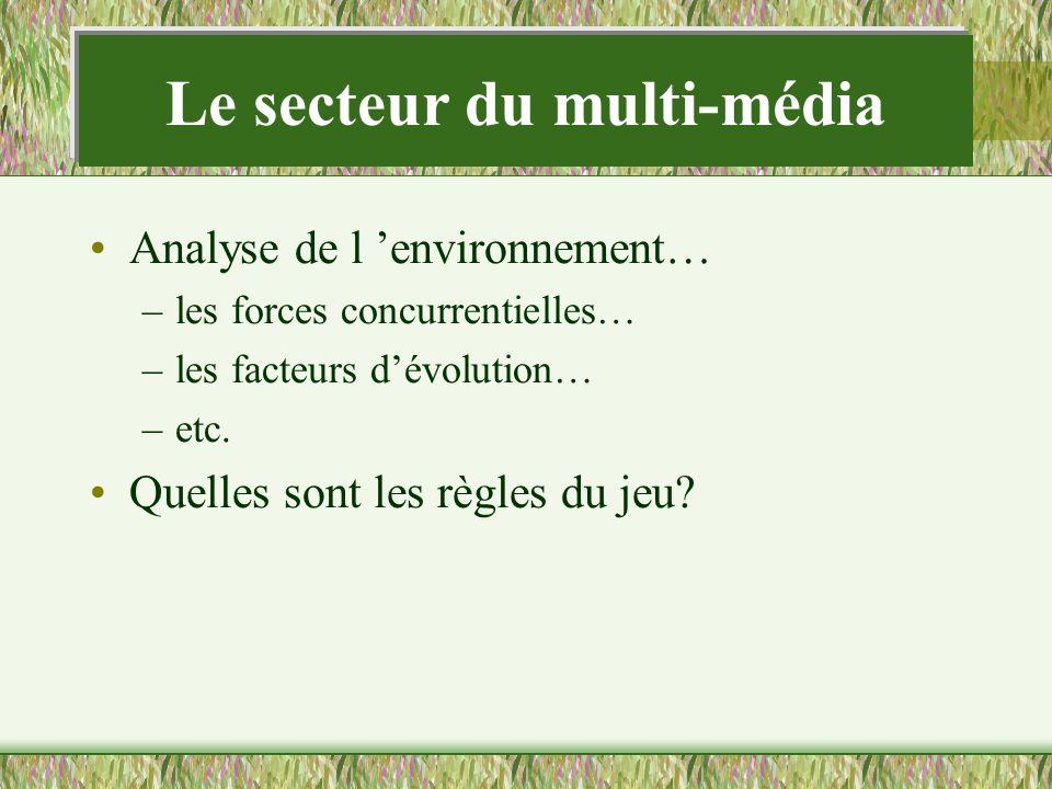 Le secteur du multi-média Analyse de l environnement… –les forces concurrentielles… –les facteurs dévolution… –etc. Quelles sont les règles du jeu?