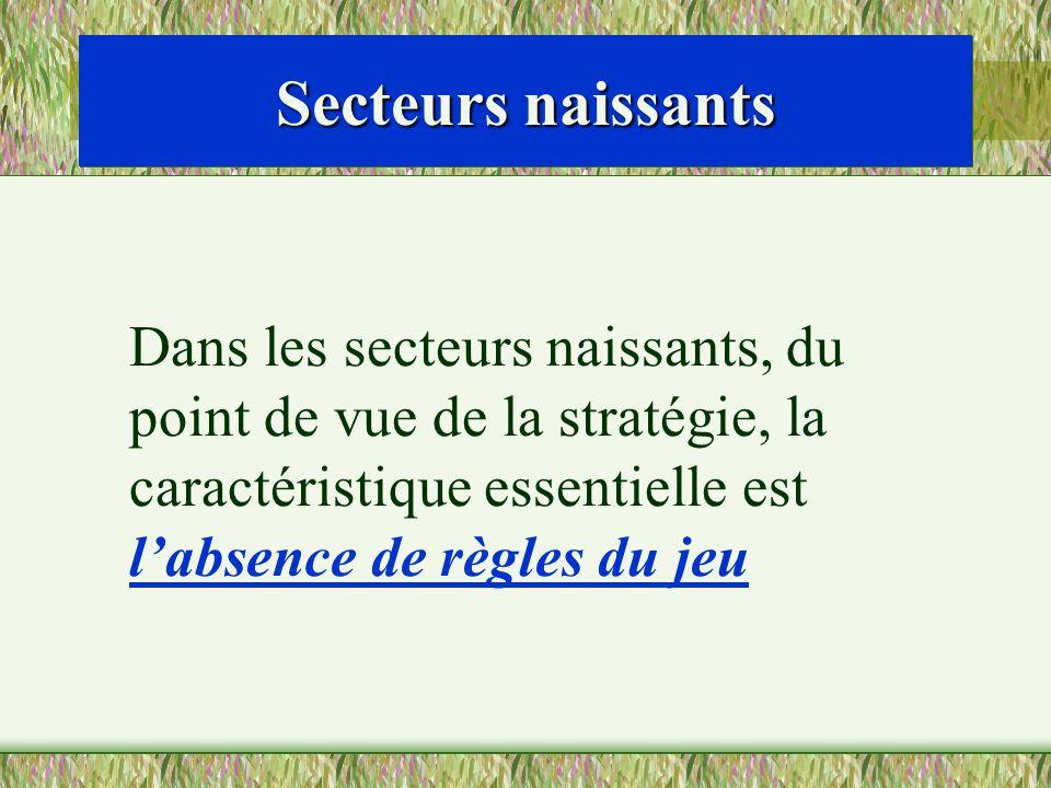 Secteurs naissants Dans les secteurs naissants, du point de vue de la stratégie, la caractéristique essentielle est labsence de règles du jeu
