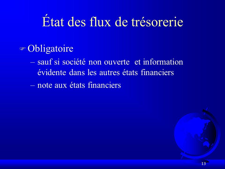 13 État des flux de trésorerie F Obligatoire –sauf si société non ouverte et information évidente dans les autres états financiers –note aux états financiers
