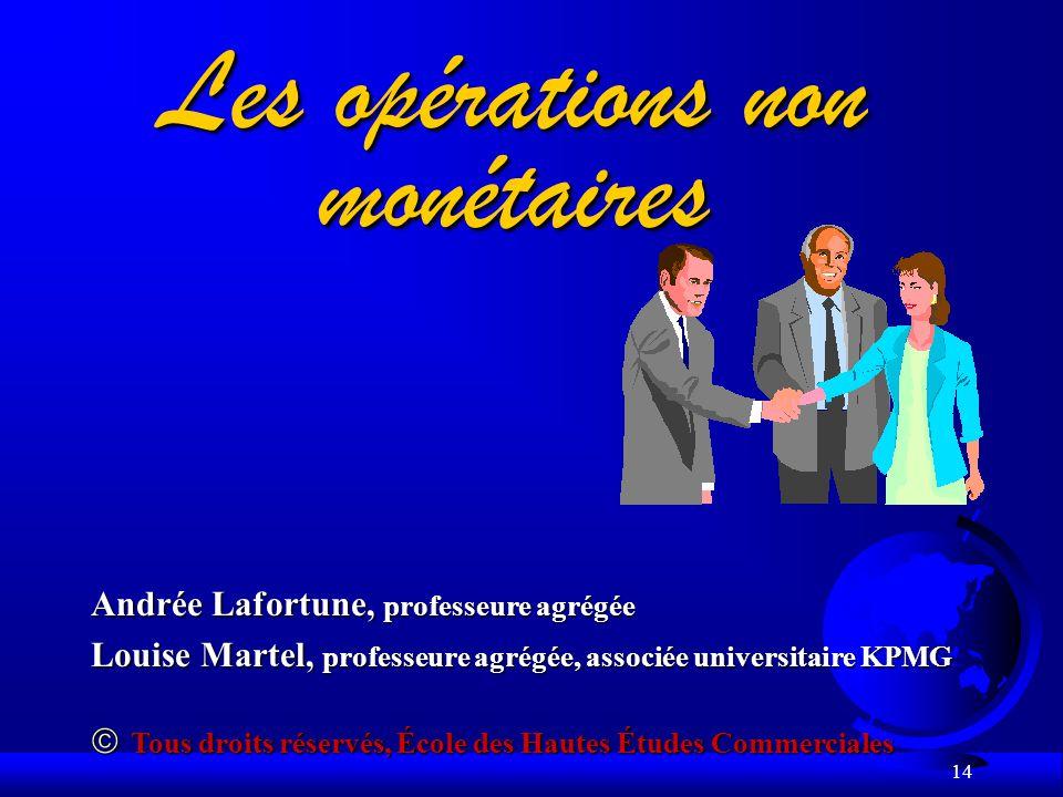 14 Les opérations non monétaires Andrée Lafortune, professeure agrégée Louise Martel, professeure agrégée, associée universitaire KPMG Tous droits rés