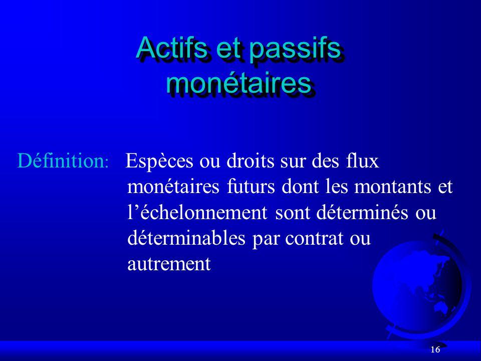 16 Actifs et passifs monétaires Espèces ou droits sur des flux monétaires futurs dont les montants et léchelonnement sont déterminés ou déterminables par contrat ou autrement Définition :