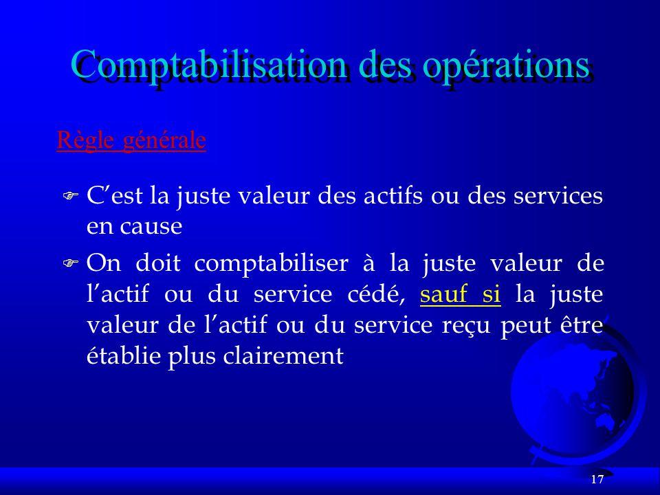 17 Comptabilisation des opérations Règle générale F Cest la juste valeur des actifs ou des services en cause F On doit comptabiliser à la juste valeur