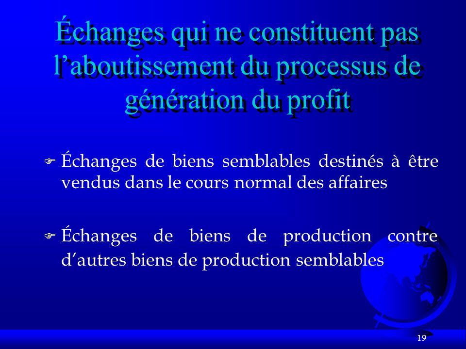 19 Échanges qui ne constituent pas laboutissement du processus de génération du profit F Échanges de biens semblables destinés à être vendus dans le c