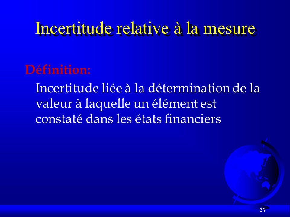 23 Incertitude relative à la mesure Définition: Incertitude liée à la détermination de la valeur à laquelle un élément est constaté dans les états financiers