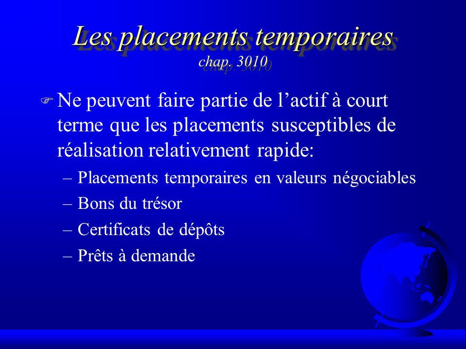 Les placements temporaires Les placements temporaires chap. 3010 F Ne peuvent faire partie de lactif à court terme que les placements susceptibles de
