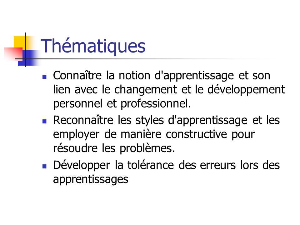 Thématiques Connaître la notion d apprentissage et son lien avec le changement et le développement personnel et professionnel.