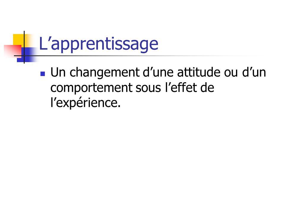 Lapprentissage Un changement dune attitude ou dun comportement sous leffet de lexpérience.