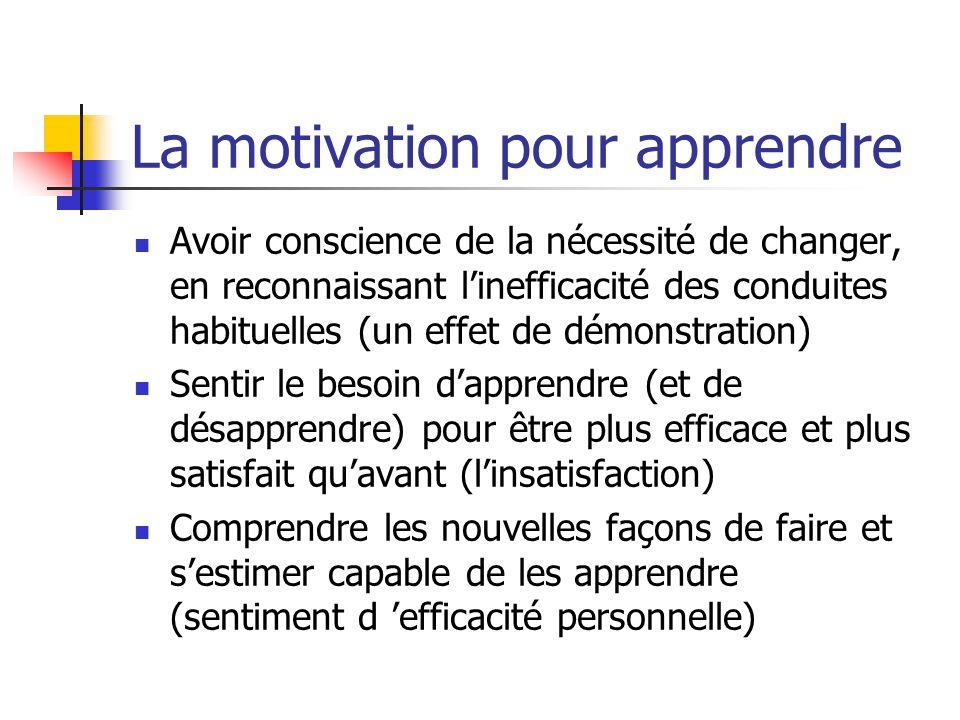La motivation pour apprendre Avoir conscience de la nécessité de changer, en reconnaissant linefficacité des conduites habituelles (un effet de démons