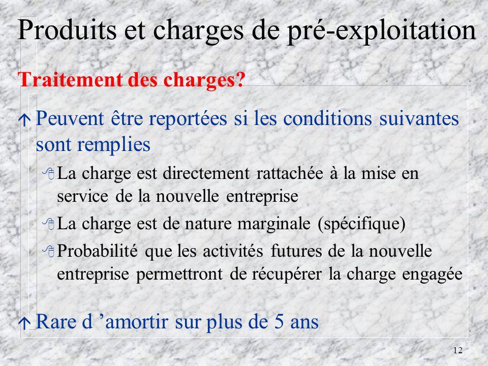 12 Produits et charges de pré-exploitation Traitement des charges.