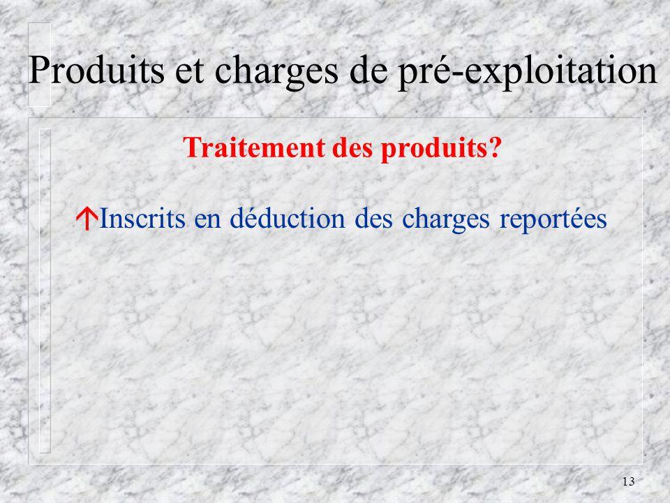 13 Produits et charges de pré-exploitation Traitement des produits.