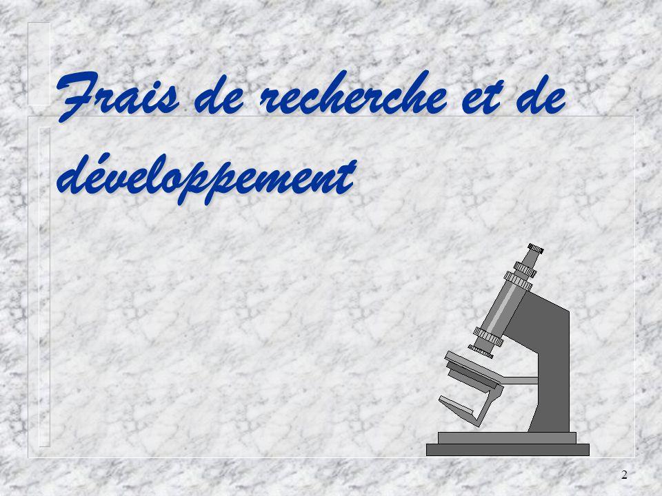 2 Frais de recherche et de développement