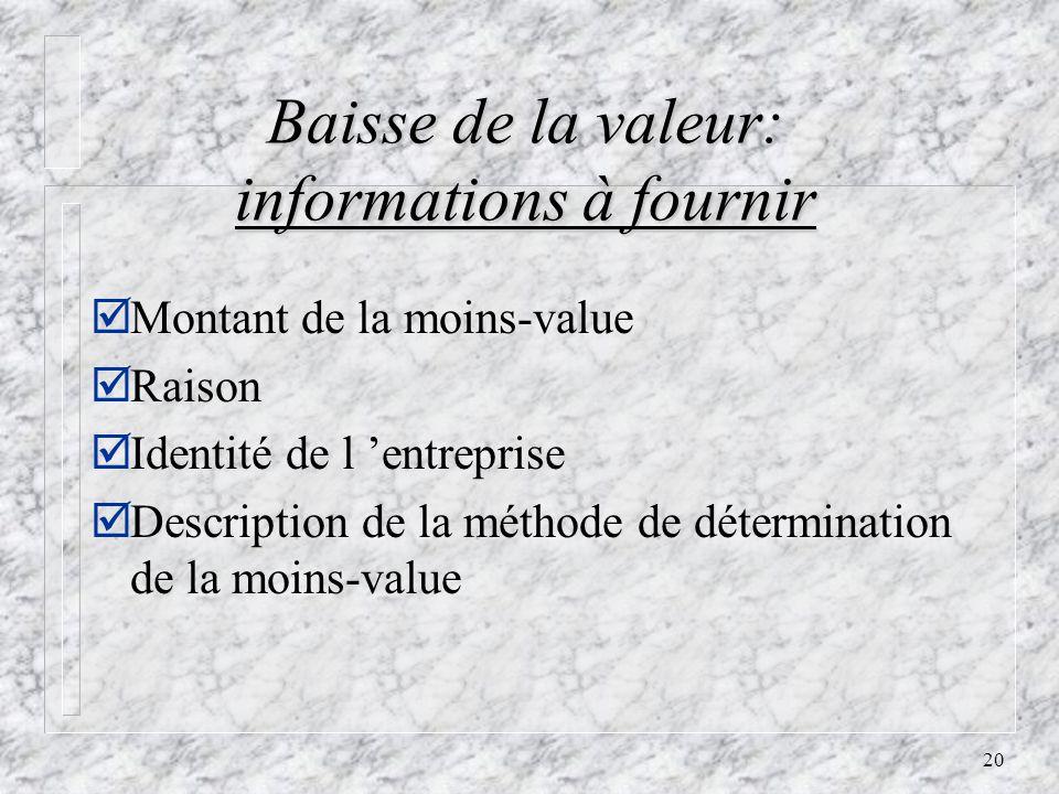 20 Baisse de la valeur: informations à fournir þMontant de la moins-value þRaison þIdentité de l entreprise þDescription de la méthode de détermination de la moins-value